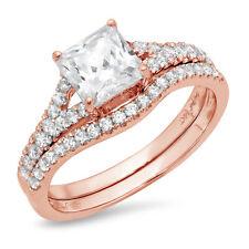 2.01ct Princess Moissanite Promise Bridal Ring Band set Curved 14k Rose Gold