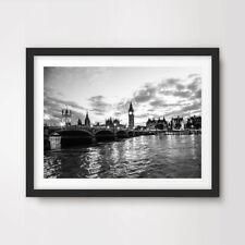 BLACK WHITE LONDON PHOTO ART PRINT Poster City Landscape Wall Picture A4 A3 A2