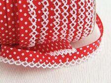 Polka Dot picot crochet / lace edged double fold bias binding per metre