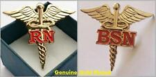 "RN, BSN BACHELOR SCIENCE NURSING NURSE - CADUCEUS MEDICAL BADGE ~1.5"" LAPEL PIN"