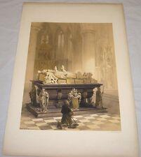 1850 Antique Print/TOMB OF DE MERODE'S FAMILY, CHEEL/Haghes Sketches
