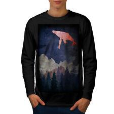 Fantasy Whale Fly Men Long Sleeve T-shirt NEW | Wellcoda