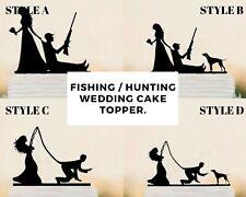 Fishing Hunting Wedding Cake Topper Dog Funny Decoration Mr & Mrs Groom & Bride