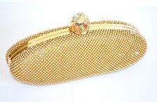 POCHETTE donna BORSELLO ORO cristalli ELEGANTE strass CLUTCH BAG cerimonia 980