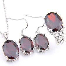 Natural Fire Red Garnet Gemstone Silver Pendant Earrings Rings Set Size 7 8 9