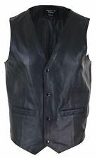 Gilet cuir véritable noir veston classique style vintage rétro western
