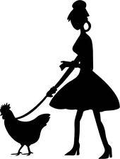 Lady Walking Her Chicken Decal Speshuls Window Bumper Sticker Car Decor Woman