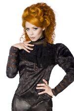 Chemisier Noir dentelle gothique steampunk jabot collier bouton femme uy 13245