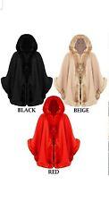 New arrival  Warm Winter Hood Faux Fur Lush Cape Ladies Hooded Wrap Poncho