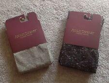 Ashley Stewart Plus Footed Tights Shimmery Gray Grey Black 1X 2X New