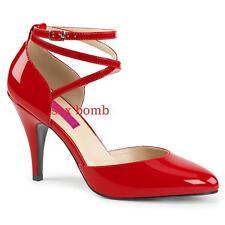 Sexy DECOLTE' tacco 10 ROSSO LUCIDO dal 39 al 47 criss cross scarpe GLAMOUR Chic