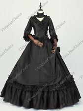 Victorian Fantasy Bustle Black Masquerade Dress Ball Gown Steampunk 330