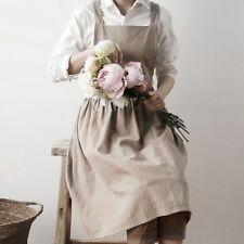 Women Bib Apron Cotton Linen Pinafore Dress Cafe Kitchen Cooking Florist Vintage