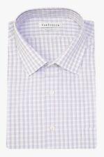 Macys Van Heusen White & Purple Plaid Wrinkle Free Cotton Blend Dress Shirt