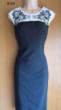 NewWT Karen Millen black white floral embroidered bodycon dress LBD UK 10 12 14