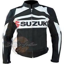 Suzuki GSX Nera Da Motocicletta Motociclista Racing Pelle Rafforzato Giacca