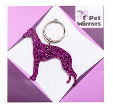 Glitter acrylic Whippet keyring/bag charm - 9 colour choices.