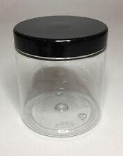 Empty 250ml Clear Plastic Jars With Black Plastic Screw On Lid Quality Jar & Lid