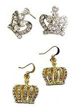 CORONA Oro Argento orecchio Stud orecchini pendenti Royal Diamante Re Regina Principessa Regalo