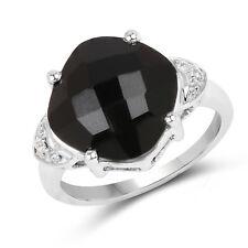 6.07 Ct Genuine Black Onyx & White Topaz 925 Sterling Silver Engagement Ring