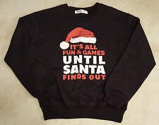 Juniors Black Christmas Sweatshirt: (It's All Fun & Games)