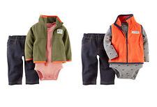 Carter's Baby Boys 3PC Microfleece Mock Vest Bodysuit Denim-Like Pant Set 6M NWT