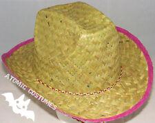 Womens Straw Cowboy Hat Natural Grass Pink Rim Adults Size Costume Fancy Dress