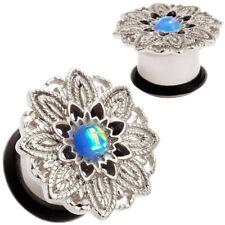 Pair Blue Opal Tribal Flower Flesh Ear Tunnels - O-Ring Plugs Gauges Earrings