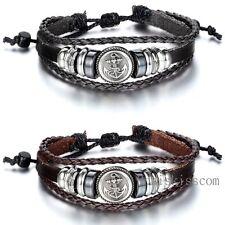 Charm Pirate Anchor Tribal Leather Adjustable Bracelet Handmade Jewelry Cuff