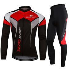 Mens Fleece Winter Long Sleeve Cycling Apparel Kits Bicycle Jersey Bike Pants