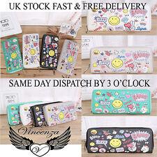 9d2a9e38f0 donna ZIP LUNGA borsetta portafoglio con Emoticons FACCIA DISEGNATA STOCK UK