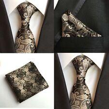 Men Golden Yellow Paisley Floral Black Silk Neck Tie Pocket Square Set Lot HZ107