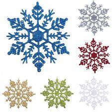 5/10pcs Glitter Snowflakes Christmas Tree Decoration Xmas Hanging Ornaments