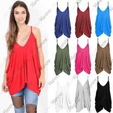 New Womens Sleeveless Strappy Romper Cami V Neck Plain Lagenlook Baggy Vest Top