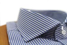 Camicia uomo Bagariny sartoriale cotone stretch slim fit col. rigato 13 royal Ma