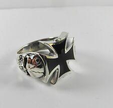 Sterling  Silver  (925)  Maltese  Cross  And  Skulls  Ring   !!      New  !!