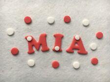 Commestibile Pasta di Zucchero Lettere-Cake topper + rosso/bianco + 12 punti