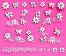 long Strip Lace Flower Butterfly Net Glitter Decal DIY Nail Stickers XF616