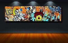 LEINWAND BILD XXL POP ART GRAFFITI ABSTRAKT MAUER WAND BUNT ZEICHEN KUNST 150x40