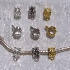 10 bélières 10mmx6mm AU CHOIX métal argenté gris-métal doré charms pour serpent