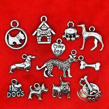 Plata Tibetana Perro tema encanto colgante perla encontrar la fabricación de joyas