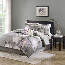 Pos7pc Charcoal Grey & Purple Floral Cotton Comforter Set AND Decorative Pillows