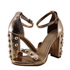 Women Shoe Delicious Sheryl Open Toe Pearl Embellished Heel Dark Penny  *New*