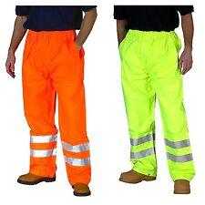 Hi Vis Waterproof Trousers Work Wear Yellow Orange Pants High Viz Over Trousers