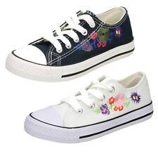 Filles Enfants MARINE/Blanc Floral Spot On chaussures en toile à lacets h2r482