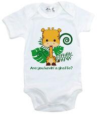 "Funny Baby Bodysuit ""Are you having a Giraffe?"" baby grow Vest Jungle Zoo Animal"