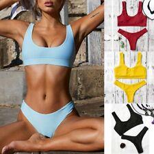 Womens Ladies Sexy Pure Color Push-Up Padded Swimsuit Beachwear Two Piece Bikini