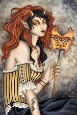 Amy Brown Greeting Card Goblin Mask Goth Steampunk New