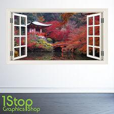 Adesivo Parete da giardino giapponese finestra Full Colour-Camera da Letto Salotto Natura w160