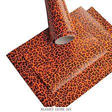 Cuir de Vachette Orange Fluo Léopard Design 2,4 Mm D'Épaisseur Véritable Pièce
